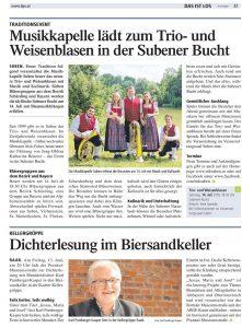 Presse Tips KW 27 Seite 41 Bericht Weisenblasen 2018